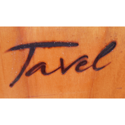 Signature de la Mairie de Tavel (Gard) réalisée à l'aide d'une marque à brûler