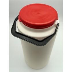 Pot plastique de savon gel rouge à microbilles avec anse de transport