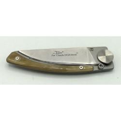 Le Thiers® Liner lock, par Claude DOZORME. Fil de la lame protégé par la côte en corne blonde.