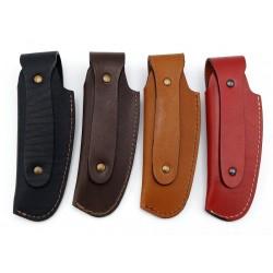 Etui pour couteau LINO, la gamme des couleurs. Large passant arrière pour une orientation verticale du couteau.