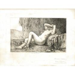 Gravure originale, avec signature autographe de Jules Lefebvre