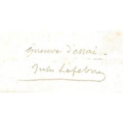 Signature autographe de Jules Lefebvre portée en marge basse de la gravure