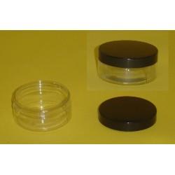 Pot 75 ml, en PETP cristal, avec son couvercle noir à vis